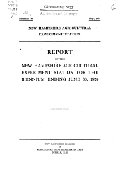 Report of the New Hampshire Agricultural Experiment Station for the biennium ending June 30, 1920