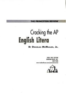 Cracking the AP English Literature  2000 2001 Edition Book