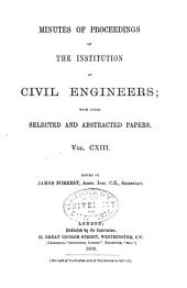 Minutes of Proceedings of the Institution of Civil Engineers: Volume 113
