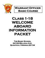 United States Marine Corps - The Basic School - Warrant Officer Basic Course Materials