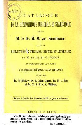 Veilingcatalogus  boeken van M  M  Baumhauer      et al    20 tot 25 januari 1879 PDF