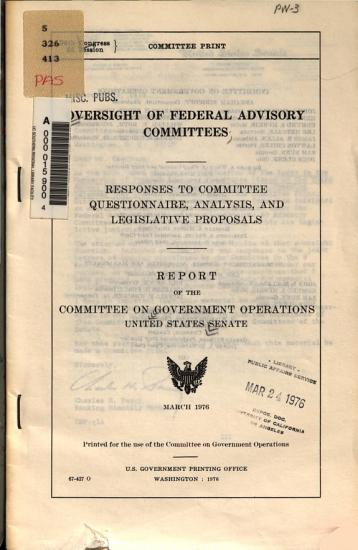 Oversight of Federal advisory committees PDF