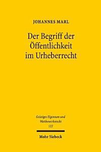 Der Begriff der   ffentlichkeit im Urheberrecht PDF