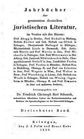 Jahrbücher der gesammten deutschen juristischen literatur: Band 13