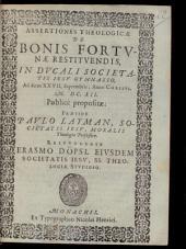 Assertiones theol. de bonis fortunae restituendis