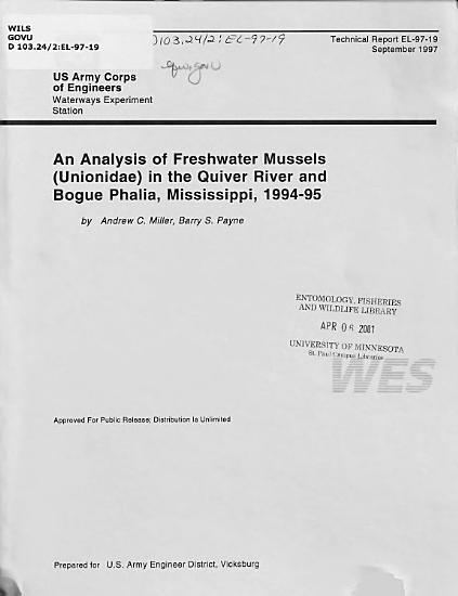 An Analysis of Freshwater Mussels  Unionidae  in the Quiver River and Bogue Phalia  Mississippi  1994 95 PDF