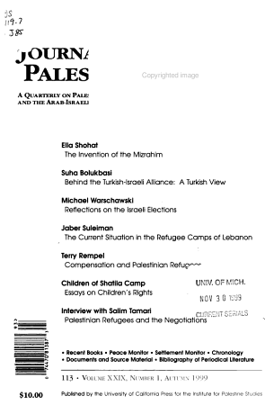 Journal of Palestine Studies PDF
