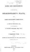 Notes and Emendations to the Text of Shakespeare s Plays PDF