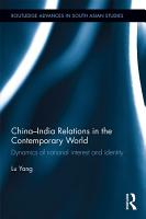 China India Relations in the Contemporary World PDF