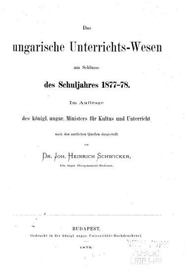 Das Ungarische Unterrichts wesen PDF