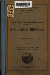 List of Persons, Partnerships and Corporations Licensed as Insurance Brokers in California