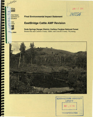 Caribou Targhee National Forest  N F    EastBridge Cattle AMP Revision PDF