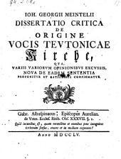 Dissertatio critica de origine vocis teutonicae Kirche (etc.)
