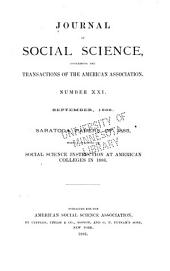Journal of Social Science: Containing the Proceedings of the American Association, Issues 21-22
