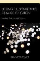 Seeking the Significance of Music Education PDF