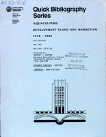 Aquaculture  Development Plans and Marketing 1970 1986 PDF