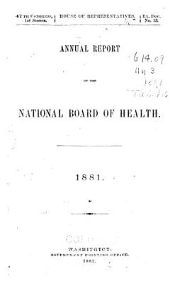 Annual Report of the National Board of Health  1879 1885 PDF