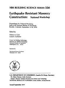 Earthquake Resistant Masonry Construction