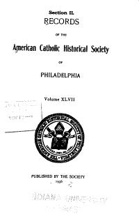 Records of the American Catholic Historical Society of Philadelphia PDF