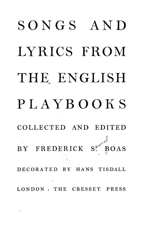 Songs and Lyrics from the English Playbooks PDF