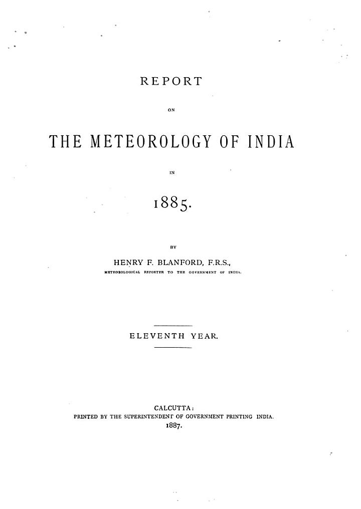 Report on the meteorology of India