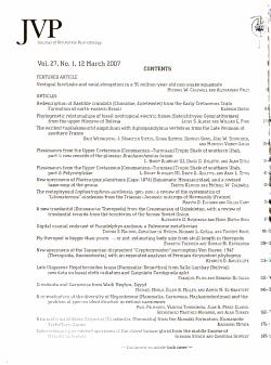 Journal of Vertebrate Paleontology PDF
