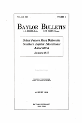 The Baylor Bulletin: Volume 19, Issue 4