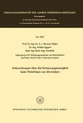 Untersuchungen über die Fertigungsgenauigkeit beim Walzfräsen von Stirnrädern