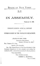 Annual Report of the Superintendent of Insurance to the New York Legislature: Volume 1888