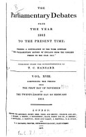 The Parliamentary Debates from the Year 1803 to the Present Time   01 PDF