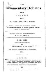 The Parliamentary Debates From The Year 1803 To The Present Time 01 Book PDF
