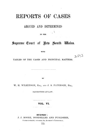 Reports of cases argued an determined in the Supreme Court of New South Wales