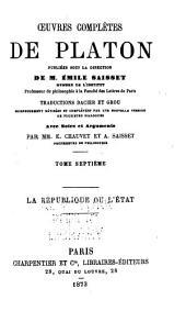 Oeuvres complètes de Platon: La République ou, L'État