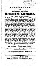 Jahrbücher der gesammten deutschen juristischen Literatur: Band 26