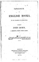 Catalogue of English Books  in All Classes of Literature on Sale by John Bohn PDF
