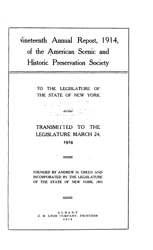 Annual Report of the American Scenic and Historic Preservation Society to the Legislature of New York