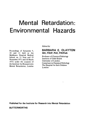 Mental Retardation  Environmental Hazards