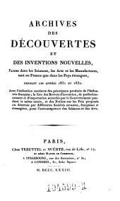Archives des Decouvertes Et Des Inventions Nouvelles, Faites dans les Sciences, les Arts et les Manufactures, tant en France que dans les Pays etrangers: Volume24