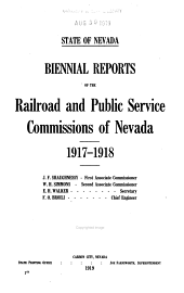 Reports of the Railroad and Public Service Commissions of Nevada: Volume 9