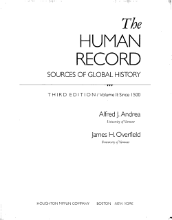 The Human Record  Since 1500 Book