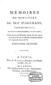 Mémoires du Ministères du Duc d'Aiguillon