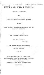 Juvenal and Persius: Volume 1
