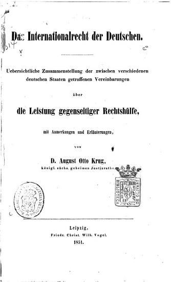 Das Internationalrecht der Deutschen PDF