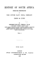 History of South Africa Under the Administration of the Dutch East India Company, 1652 to 1795