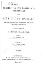 Theological and Homiletical Commentary on the Acts of the Apostles: Volume 1