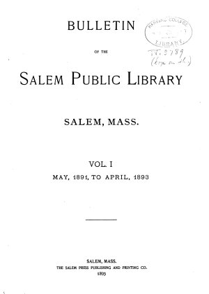 Bulletin of the Salem Public Library
