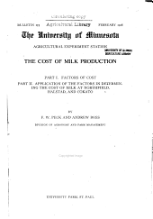 The cost of milk production: Volumes 165-180