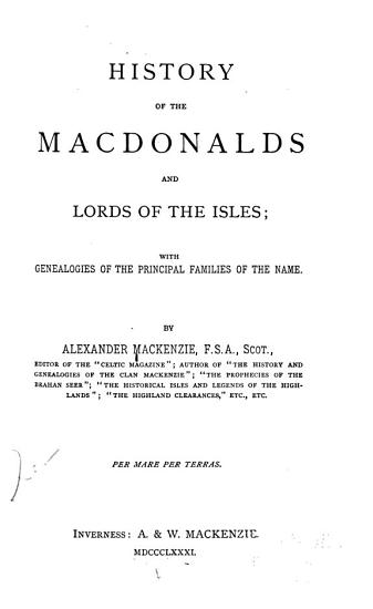 History of the Macdonalds and Lords of the Isles PDF