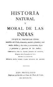 Historia natural y moral de las Indias: Volumen 1