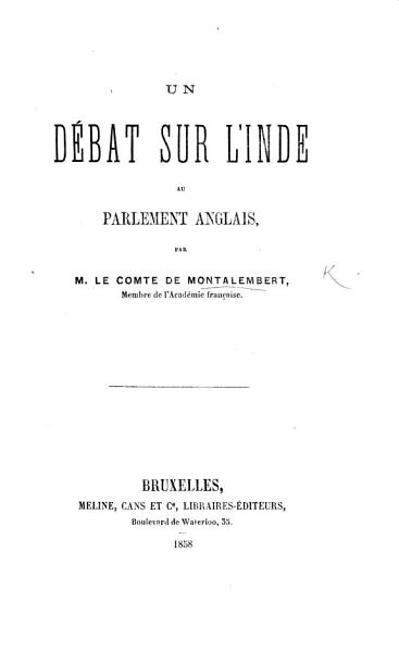 Download Un D  bat sur l Inde au Parlement anglais Book